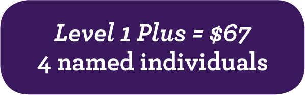 Level 1 Plus = $67 - 4 named individuals