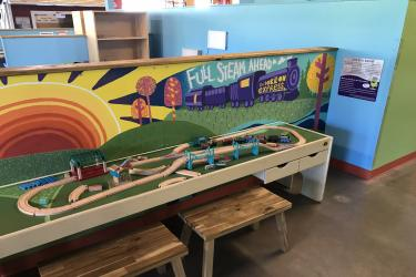 A large wooden train set